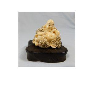 Antique Japanese netsuke Buddha on display wood stand circa mid 1900s