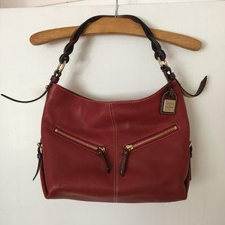 DOONEY & BURKE red leather shopper tote bag purse