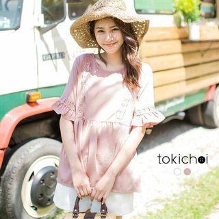 東京著衣粉紅色甜美蕾絲拼接傘擺