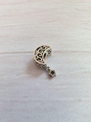 Sterling Silver Crescent Moon Charm 925 fits Pandora Trollbeads Mystic Celestial Star
