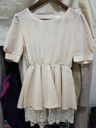 韓版婚禮粉杏色下擺薄紗蝴蝶結上衣-韓國製