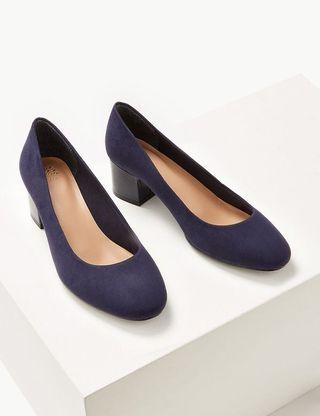 Navy block heels court shoes 深藍色粗跟高跟鞋