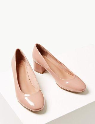 Nude block heels court shoes 裸色粗跟高跟鞋