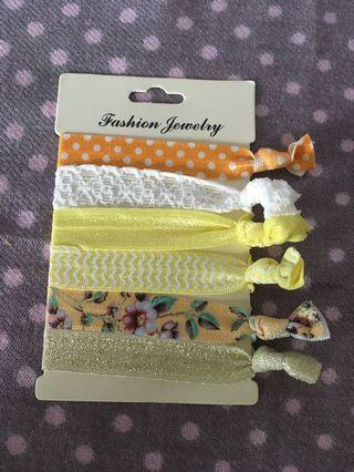 (6 pieces) Yellow theme hair bands