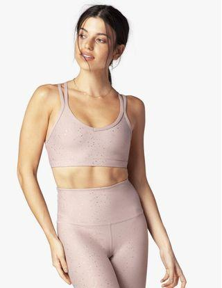 Beyond Yoga Double Back Alloy Speckled Bra in Blush