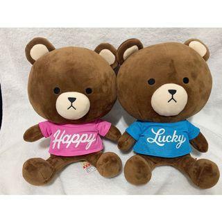 🚚 熊熊娃娃2隻 一對 中隻 近全新