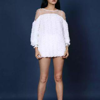 🚚 White Ruffled Top With Pearls