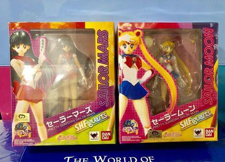 日版金證Bandai SHFiguarts PRETTY GUARDIAN SAILOR MOON shf 美少女戰士 月野兔 & sailor Mars 火野麗 模型 figures 一對