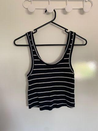 Black and white stripe crop singlet