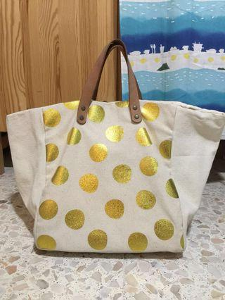 Ratha canvas gold polka dot boxy tote