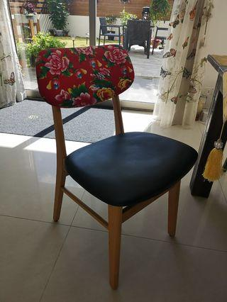 Dining chairs 红布黑皮餐椅