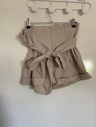 Cream tie up dress shorts