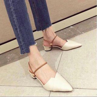 米白 杏色 尖頭鞋 粗跟鞋 涼鞋 穆勒鞋