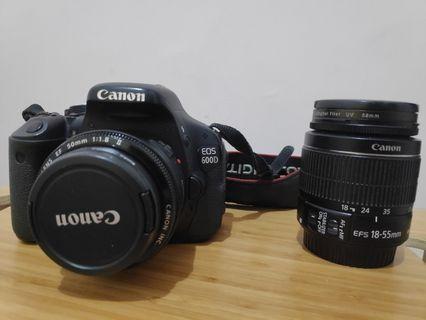 Canon DSLR 600D body and lensa kit + Lensa Fix 50mm f1.8
