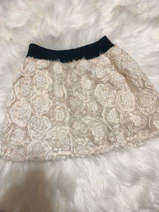 MDS embriodery embossed flower Lace Skirt