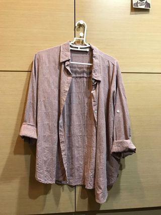 🚚 二手/韓🌸煙燻粉寬鬆襯衫(可單穿/外搭)