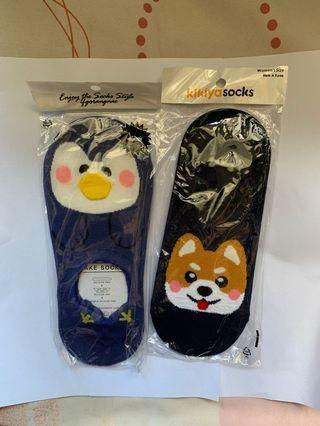 韓國防滑船襪 (柴犬&企鵝)