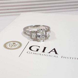 18k鑽石戒指GiA証書1卡15份D色14号半圈口