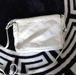 sports girl white leather side bag