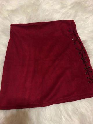 Carrislabelle suede Maroon side tie shoelace Skirt