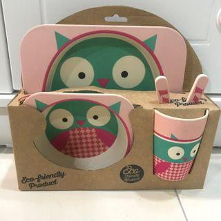🦉 Owl kids dinner set [eco-friendly product]