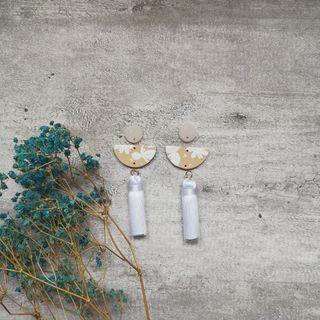 Shimmer floral series Half moon tassel dangle