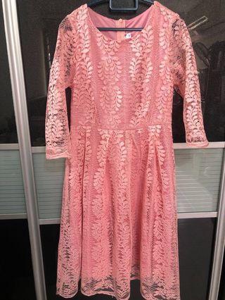 🚚 BN Pink Lace Evening Dinner Dress