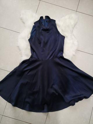 Twenty3 mandarin collar dark blue dress #MGAG101