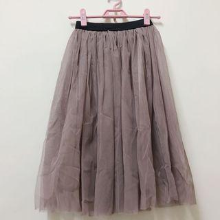 轉賣Puree氣質紗裙 灰咖色
