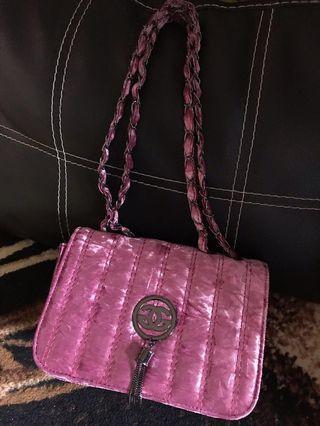 Tas bludru pink slingbag pink