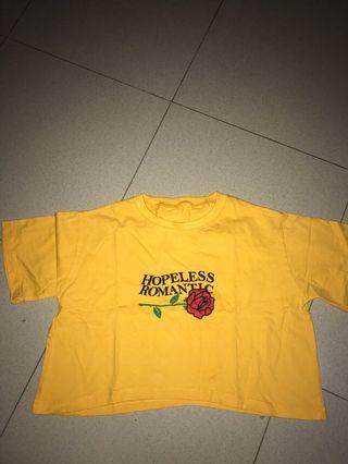 Kaos Kuning / yellow crop / crop tee / hopeless romantic