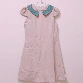 韓 復古水玉領 奶茶色雪紡洋裝