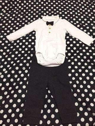 H&M Baby Tuxedo Bow Tie Organic Cotton Set