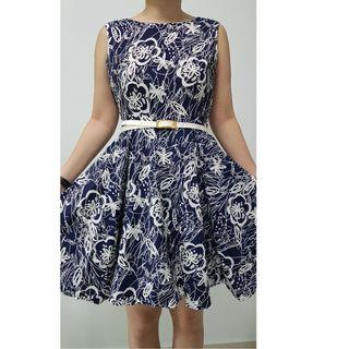 Brand New Blue with White Prints Flare Dress (with lining)