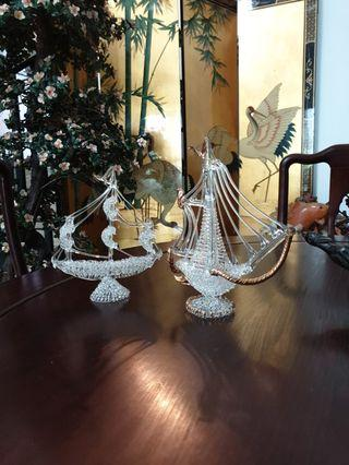 glass ship 2pcs decor item