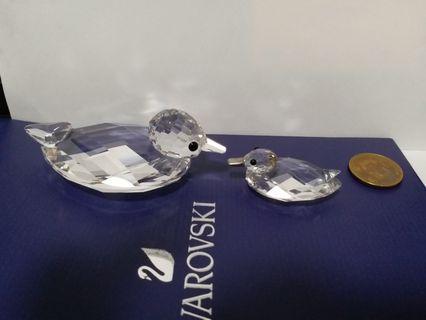 2 pcs Swarovski Crystal Ducks: medium and small with silver bill