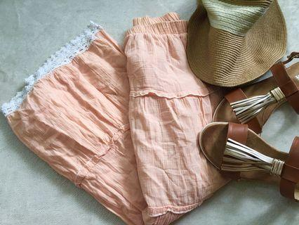 Orange Ruffle Skirt for Women (Size M)