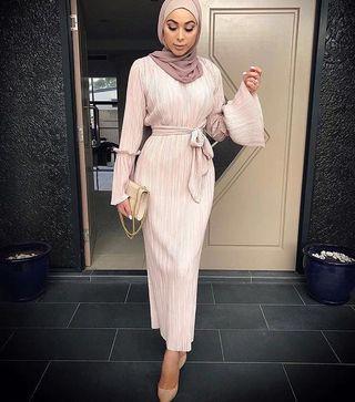 Long Abaya Dress in Cream