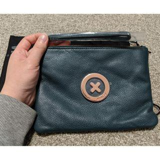 Mimco medium dark blue green leather pouch