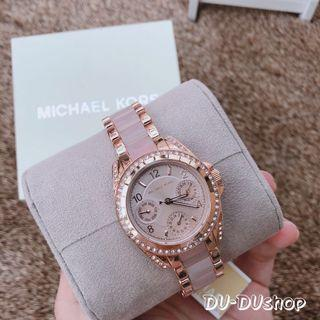 現貨!Michael kors 玫瑰金晶鑽粉色錶盤 三眼手錶
