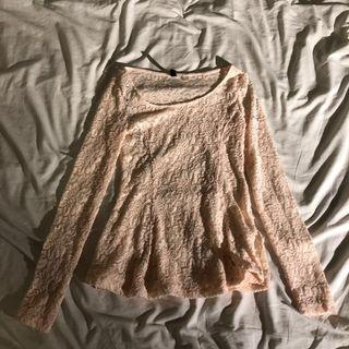Nude Lace Long Sleeve Top