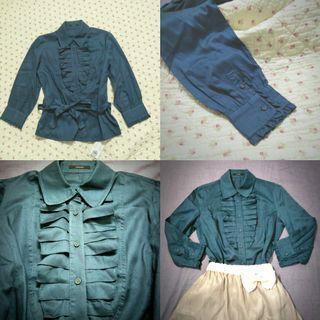 BNWT Teal ruffle blouse