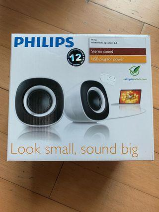 (Brand New) Philips USB Powered Computer and Laptop Speaker (white)