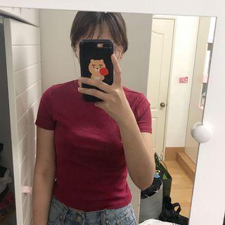 🚚 H&M 歐美貼身紫紅素色上衣