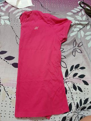 Embroidery cotton t shirt rose pink