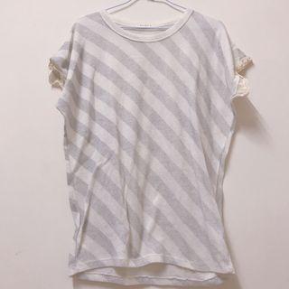 韓 棉質 銀條紋 袖口布蕾絲上衣
