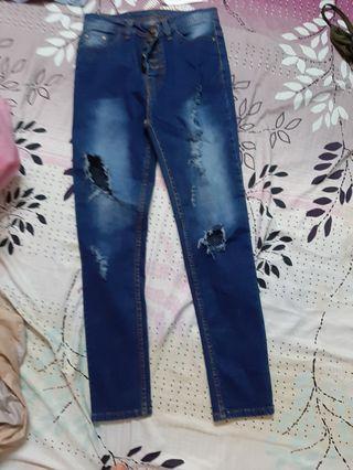 Fish net rapped jeans dark blue