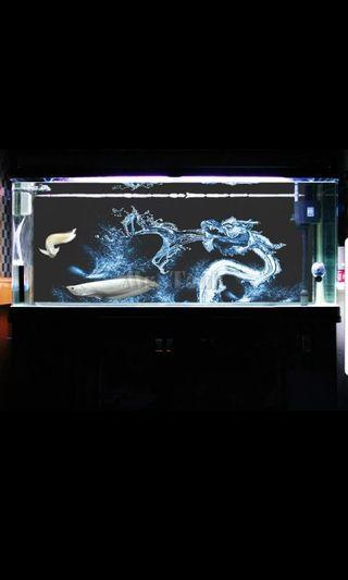 🚚 3D Fish Tank Background Sticker