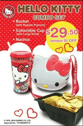 PO Original GV Hello Kitty Popcorn Bucket + Tumbler