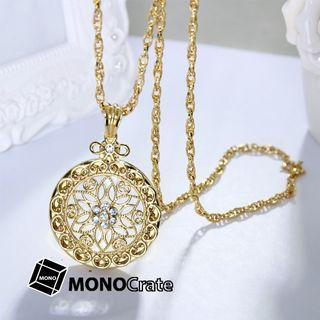 Magnifier Pendent Ornate Filigree (Gold / Silver) [Magnifying glass, Reading aid, Low vision aid, Reading glasses, Handheld magnifier]
